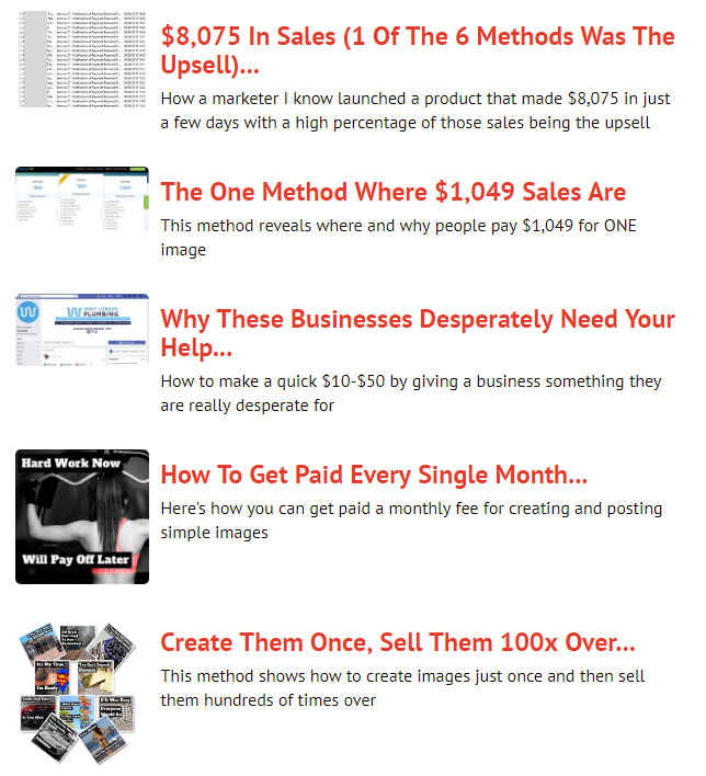 Image Income Methods