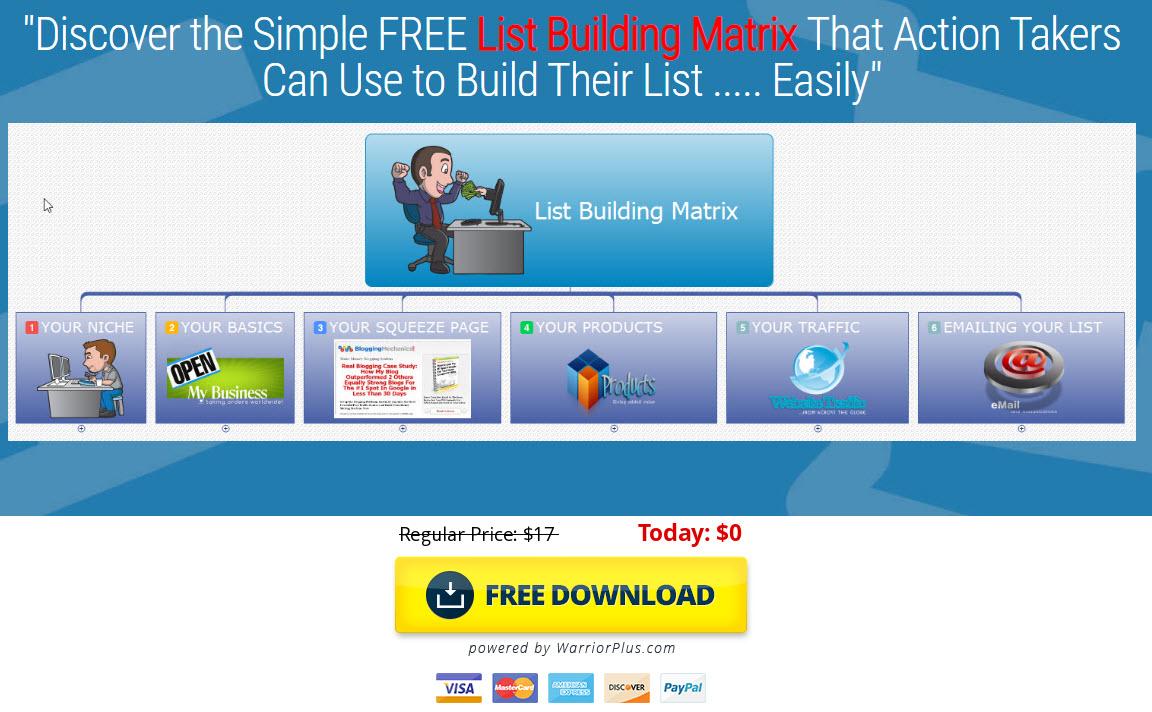 FREE List bujilding Matrix