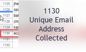 1130 Unique Emails Collected